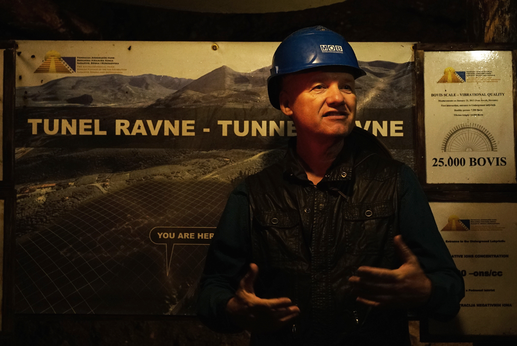 Dr. Sam Osmanagich inside the Tunnel Ravne touring with a group. Sep. 2016.