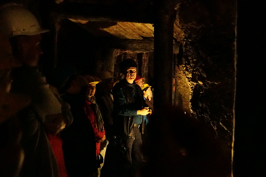 Dr. Sam Osmanagich inside the Tunnel Ravne touring a group. Sep. 2016.