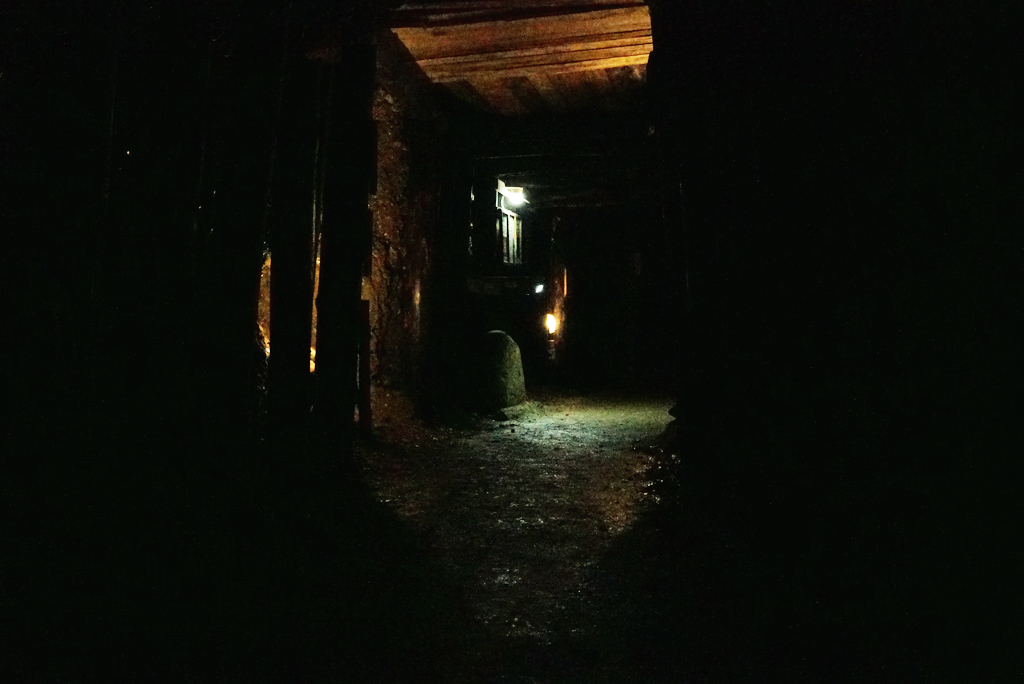 Passage with an ancient stone in the Tunnel Ravne. Sep. 2016.