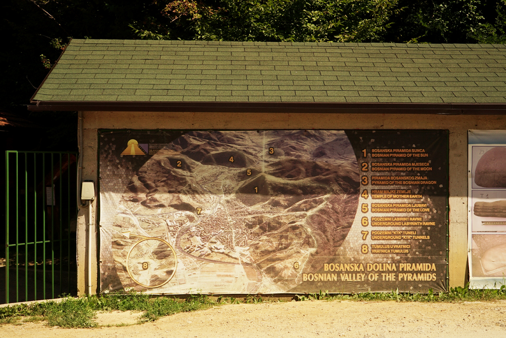 Bosnian Pyramids Valley map on the entrance Tunnel Ravne. Sep. 2016.